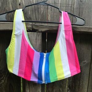 Rainbow Bikini Top NWT